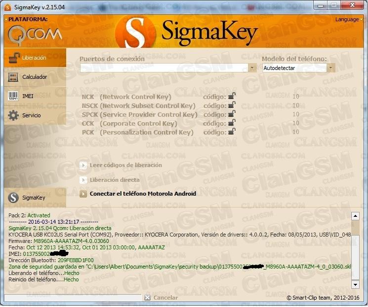 Aporte Unlock Kyocera C6522n By Sigmakey - Clan GSM - Unión de los