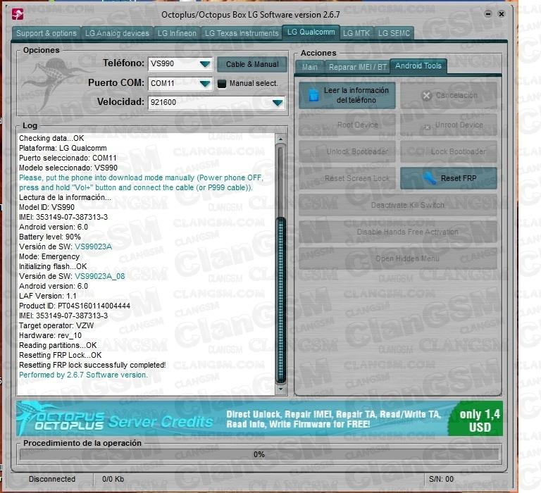 aporte) Frp Lg Vs990 Verizon - Clan GSM - Unión de los