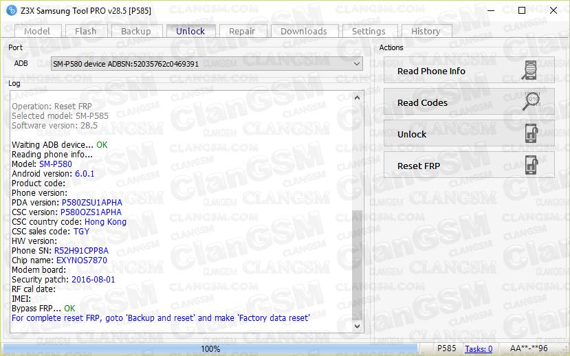 Aporte Frp Sm-p580 Con Z3x - Clan GSM - Unión de los