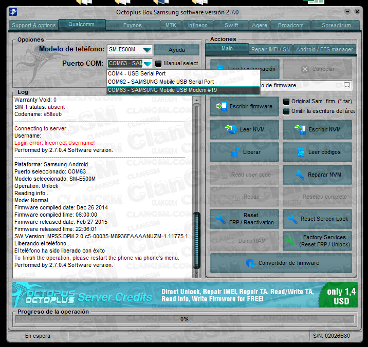Aporte Unlock E5(e500m) Sin Root - Clan GSM - Unión de los Expertos