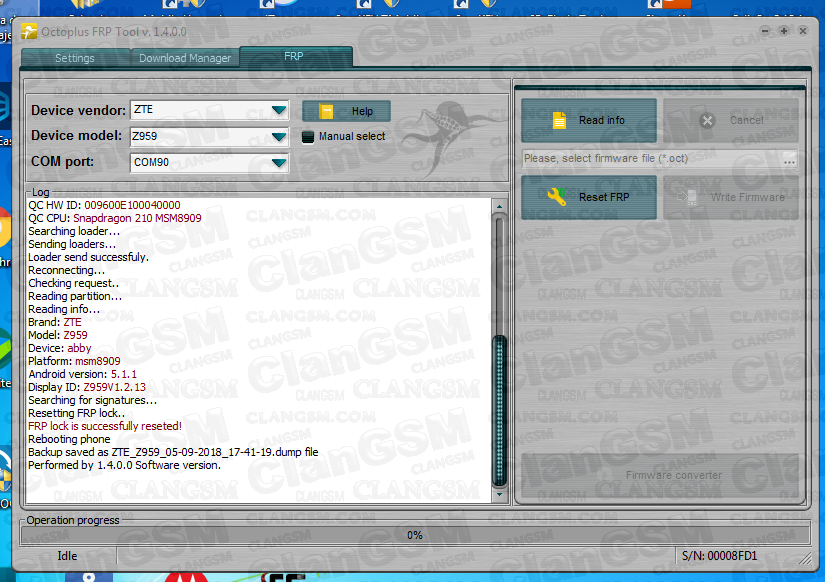 Zte Z959 Frp Con Octopus Frp Tool  - Clan GSM - Unión de los