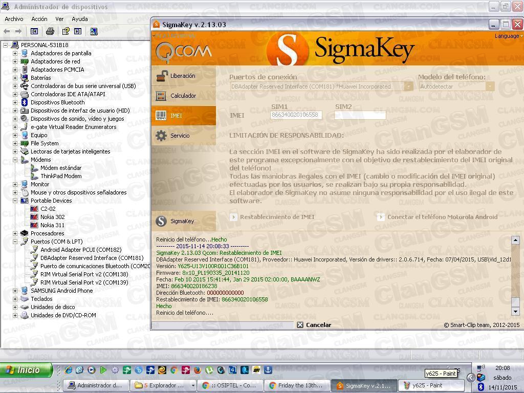 Aporte Reparacion De Imei Huawei Y625 Con Sigmakey - Clan