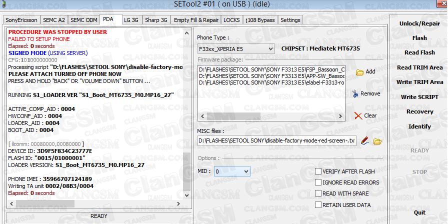 Quitar Patron Xperia E5 F3311 Y F3313 - Remove Lock Ftf - Clan GSM